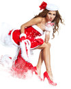Woman wearing santa claus clothes Royalty Free Stock Image
