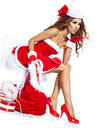 Woman wearing santa claus clothes Stock Photos