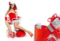 Woman wearing santa claus clothes Stock Image