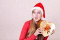 Woman wearing Santa Claus hat Royalty Free Stock Image