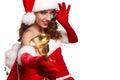 Woman Wearing Santa Claus Hat ...