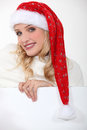 Woman wearing santa hat a sexy Stock Photos