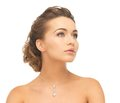 Woman wearing shiny diamond necklace close up of beautiful Royalty Free Stock Photo