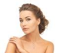 Woman wearing shiny diamond necklace close up of beautiful Royalty Free Stock Photos