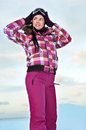 Woman wearing skiing suit Royalty Free Stock Photo