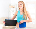Woman wearing slimming belt beautiful young neoprene Stock Photos