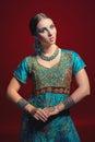 Woman wearing traditional Indian sari Royalty Free Stock Photo