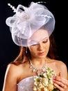 Woman wearing wedding dress happy Royalty Free Stock Image