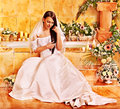 Woman wearing wedding dress at spa Stock Photo