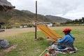 Woman Weaving - Peru Royalty Free Stock Photo