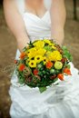 Woman with a Wedding Bouquet Stock Photo