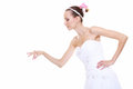 Woman in wedding dress choosing picking up isolated bride make a deccision about something choice the perfect candidate for Stock Image