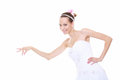Woman in wedding dress choosing picking up isolated Royalty Free Stock Image