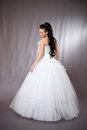 Woman in wedding gown beautiful young white Stock Image