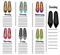 Woman weekly, daily planner template with fashionable shoes. Organizer, diary, schedule with notes for females Royalty Free Stock Photo
