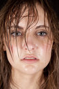 Woman wet hair serious Royalty Free Stock Images