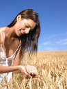 Woman in wheat field Stock Photo