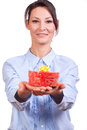 Woman whit Christmas Gift box Royalty Free Stock Image