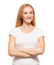 Woman at white background young female isolated Royalty Free Stock Photo