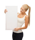 Woman with white blank board happy smiling Royalty Free Stock Photos