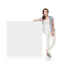 Woman and white blankboard attractive asian lean on blank board of advertisement on background Stock Photography