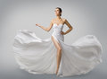 Woman White Dress, Fashion Model Bride in Long Silk Wedding Gown Royalty Free Stock Photo