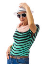 Woman with white hat and sunglasses hand on salute gesture studio shoot isolated on background Stock Image