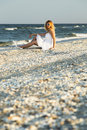 Woman on white sand beach a relaxing Royalty Free Stock Photo