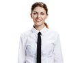 Woman in a white shirt and tie studio photo of the girl toothy smiling isolated on background Stock Photos