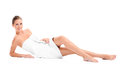 Woman in a white towel Royalty Free Stock Photo