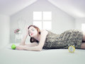 Woman in the white toy house beautiful photo compilation concept Royalty Free Stock Image