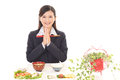 Woman who enjoys Japanese food Royalty Free Stock Photo