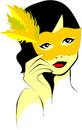 Woman who takes the yellow feathered mask in hand