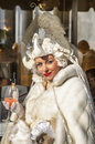 Woman wiht a glass of aperol spritz venice italy february portrait wearing sophisticate costume holding during the venice Stock Photography