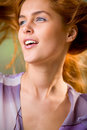 Woman with wind blowing hair Stock Photography