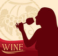 Woman with wine glass design holding a of drinking Royalty Free Stock Images