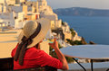 Woman with wine glass in Santorini, Greece Royalty Free Stock Photo
