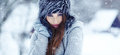Woman  on the winter background Stock Photo