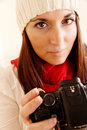 Woman in Winter Clothing with a Digital Camera Royalty Free Stock Photos