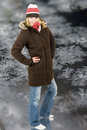 Woman in winter coat Stock Photography