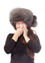 Woman with a winter cold and flu Stock Image