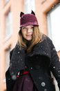 Woman at winter day with funny hat smiling Royalty Free Stock Images