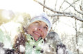 Woman in winter happy young outdoors Stock Image