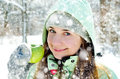 Woman in winter happy young outdoors Stock Photo