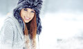 Woman winter portrait. Shallow dof. Royalty Free Stock Photo