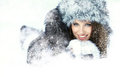 Woman in the winter scenery Royalty Free Stock Images