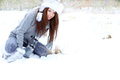 Woman in the winter scenery Royalty Free Stock Image