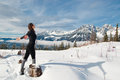 Woman winter sport young doing outdoor and relaxation Stock Photo