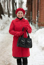 Woman in wintry clothes walking Royalty Free Stock Photo