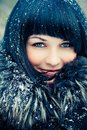 Woman in wintry coat Royalty Free Stock Photography